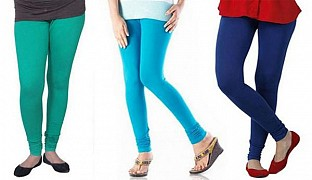 Cotton Rama Green,Sky Blue and Royal Blue Color Leggings Combo @ Rs617.00