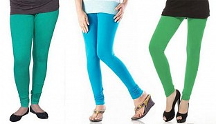Cotton Rama Green,Sky Blue and Green Color Leggings Combo @ Rs617.00