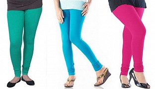Cotton Rama Green,Sky Blue and Pink Color Leggings Combo @ Rs617.00