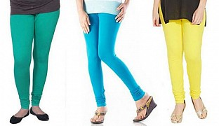 Cotton Rama Green,Sky Blue and Light Yellow Color Leggings Combo @ Rs617.00