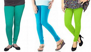 Cotton Rama Green,Sky Blue and Parrot Green Color Leggings Combo @ Rs617.00