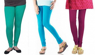 Cotton Rama Green,Sky Blue and Dark Pink Color Leggings Combo@ Rs.617.00