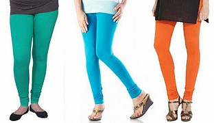 Cotton Rama Green,Sky Blue and Orange Color Leggings Combo@ Rs.617.00