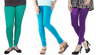 Cotton Rama Green,Sky Blue and Purple Color Leggings Combo @ Rs617.00