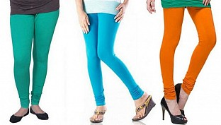 Cotton Rama Green,Sky Blue and Dark Orange Color Leggings Combo @ Rs617.00