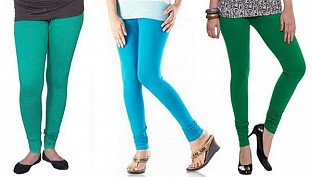 Cotton Rama Green,Sky Blue and Dark Green Color Leggings Combo @ Rs617.00