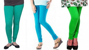 Cotton Rama Green,Sky Blue and Light Green Color Leggings Combo @ Rs617.00