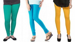 Cotton Rama Green,Sky Blue and Yellow Color Leggings Combo@ Rs.617.00