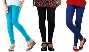 Cotton Sky Blue,Black and Royal Blue Color Leggings Combo @ Rs617.00
