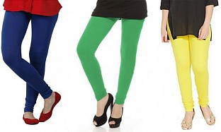 Cotton Royal Blue,Green and Light Yellow Color Leggings Combo @ Rs617.00