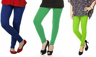 Cotton Royal Blue,Green and Parrot Green Color Leggings Combo Buy Rs.617.00