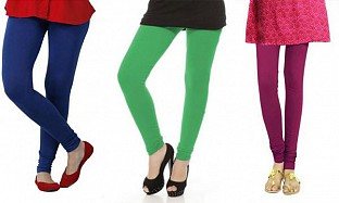 Cotton Royal Blue,Green and Dark Pink Color Leggings Combo @ Rs617.00