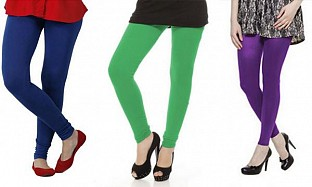 Cotton Royal Blue,Green and Purple Color Leggings Combo @ Rs617.00