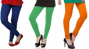 Cotton Royal Blue,Green and Dark Orange Color Leggings Combo @ Rs617.00