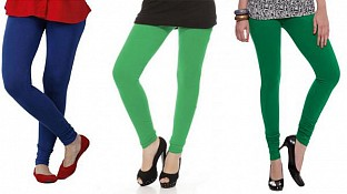 Cotton Royal Blue,Green and Dark Green Color Leggings Combo @ Rs617.00