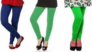 Cotton Royal Blue,Green and Light Green Color Leggings Combo@ Rs.617.00