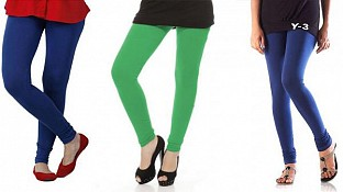 Cotton Royal Blue,Green and Blue Color Leggings Combo @ Rs617.00
