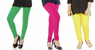 Cotton Green,Pink and Light Yellow Color Leggings Combo@ Rs.617.00