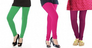 Cotton Green,Pink and Dark Pink Color Leggings Combo@ Rs.617.00