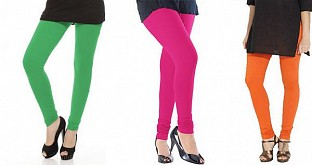 Cotton Green,Pink and Orange Color Leggings Combo @ Rs617.00