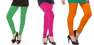 Cotton Green,Pink and Dark Orange Color Leggings Combo@ Rs.617.00