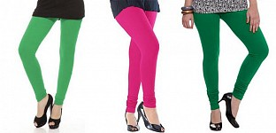 Cotton Green,Pink and Dark Green Color Leggings Combo @ Rs617.00