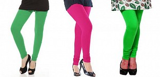 Cotton Green,Pink and Light Green Color Leggings Combo Buy Rs.617.00