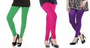 Cotton Green,Pink and Purple Color Leggings Combo@ Rs.617.00