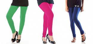 Cotton Green,Pink and Blue Color Leggings Combo @ Rs617.00