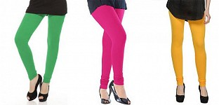 Cotton Green,Pink and Yellow Color Leggings Combo @ Rs617.00