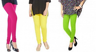 Cotton Pink,Light Yellow and Parrot Green Color Leggings Combo @ Rs617.00