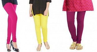 Cotton Pink,Light Yellow and Dark Pink Color Leggings Combo @ Rs617.00
