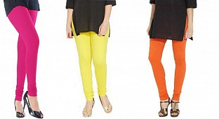 Cotton Pink,Light Yellow and Orange Color Leggings Combo @ Rs617.00