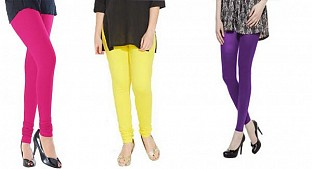 Cotton Pink,Light Yellow and Purple Color Leggings Combo @ Rs617.00