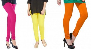 Cotton Pink,Light Yellow and Dark Orange Color Leggings Combo@ Rs.617.00