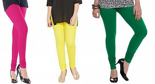 Cotton Pink,Light Yellow and Dark Green Color Leggings Combo @ Rs617.00