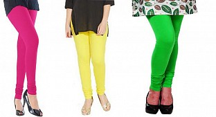 Cotton Pink,Light Yellow and Light Green Color Leggings Combo@ Rs.617.00