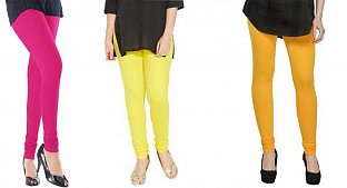Cotton Pink,Light Yellow and Yellow Color Leggings Combo @ Rs617.00