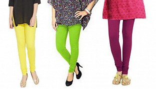 Cotton Light Yellow,Parrot Green and Dark Pink Color Leggings Combo@ Rs.617.00