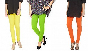 Cotton Light Yellow,Parrot Green and Orange Color Leggings Combo@ Rs.617.00