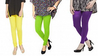Cotton Light Yellow,Parrot Green and Purple Color Leggings Combo @ Rs617.00