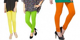 Cotton Light Yellow,Parrot Green and Dark Orange Color Leggings Combo @ Rs617.00