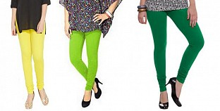 Cotton Light Yellow,Parrot Green and Dark Green Color Leggings Combo @ Rs617.00