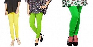 Cotton Light Yellow,Parrot Green and Light Green Color Leggings Combo @ Rs617.00