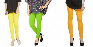 Cotton Light Yellow,Parrot Green and Yellow Color Leggings Combo@ Rs.617.00