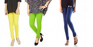 Cotton Light Yellow,Parrot Green and Blue Color Leggings Combo @ Rs617.00