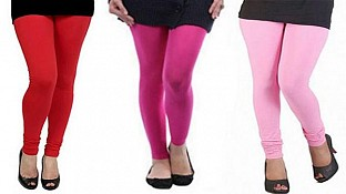Cotton Red,Pink and Light Pink Color Leggings Combo@ Rs.617.00
