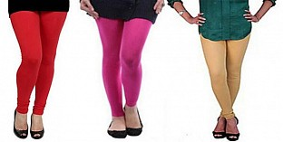 Cotton Red,Pink and Biege Color Leggings Combo@ Rs.617.00