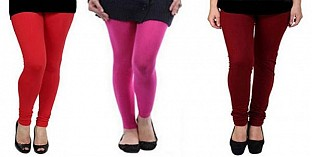 Cotton Red,Pink and Brown Color Leggings Combo @ Rs617.00