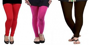 Cotton Red,Pink and Dark Brown Color Leggings Combo @ Rs617.00